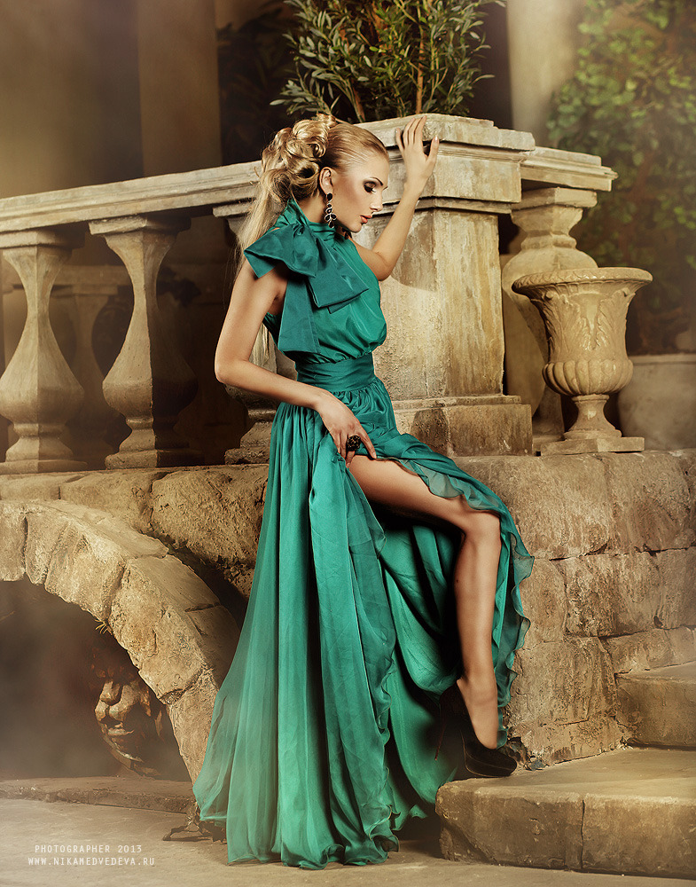 Greek woman in long dress | glamour, model, woman, blonde, long dress, hair-do, high-heeled shoes, make-up, architecture, Greece