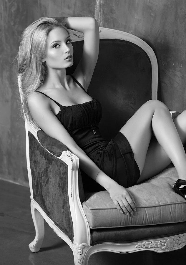Girl in underwear   underwear, cutie, black & white, chair
