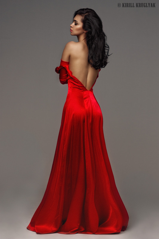 Girl takes her red dress off | beautiful girl, long red dress, dark hair, perfect skin, naked back