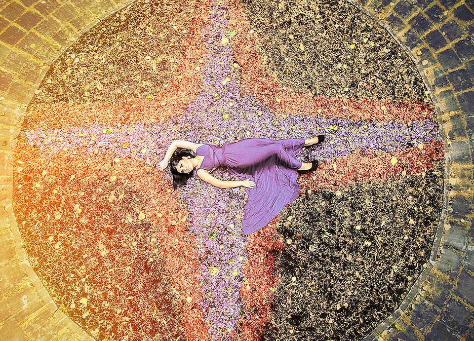 Lying on the stars | purple dress, stars, black shoes