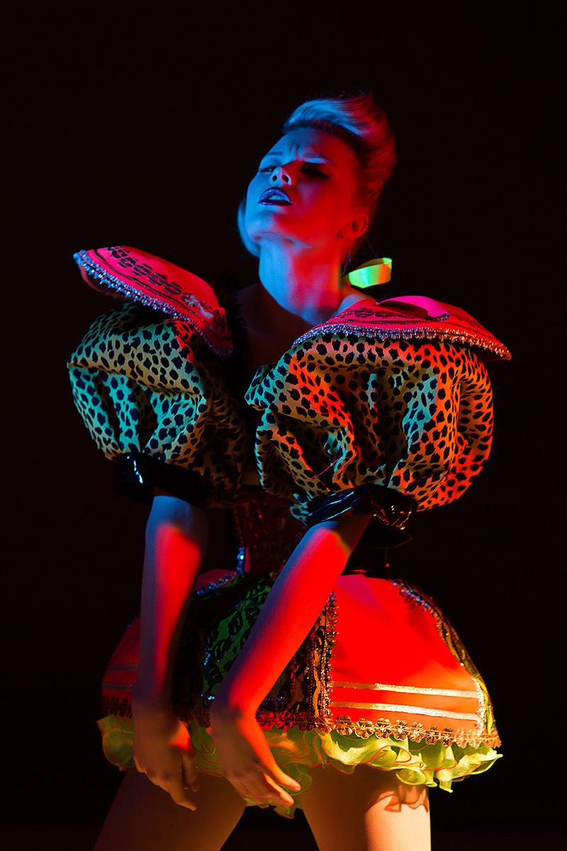 Passionate model | passion, fancy dress, colorful photo, neon light