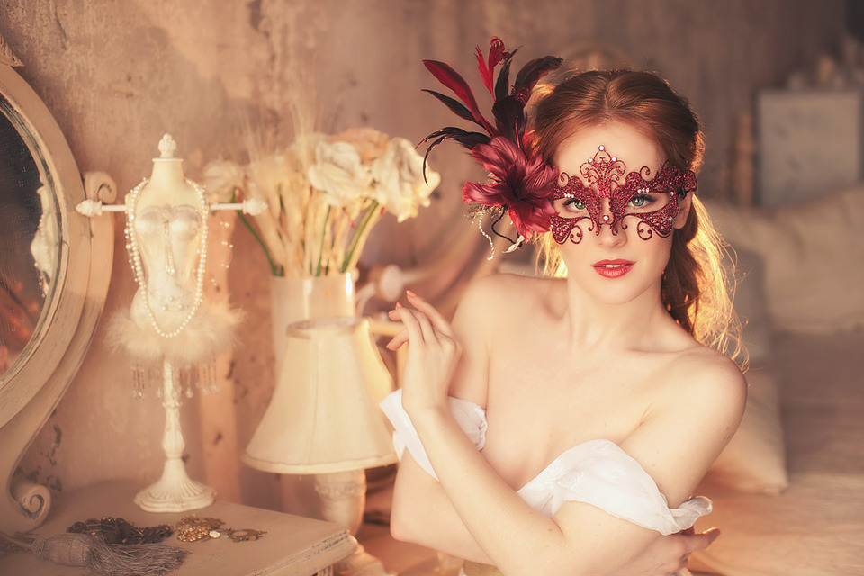Masked girl undresses | masked girl, old facioned room, white nightgown, bed