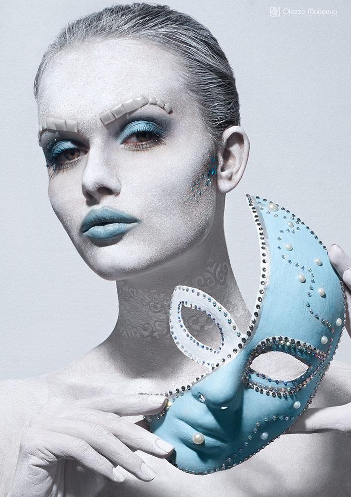 Girl with blue mask   mask, blue lips, light skin