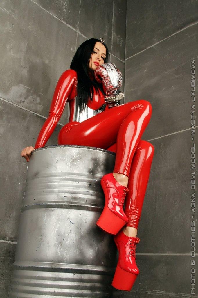 Latex clothing   latex clothing, huge heels, gorl in red, dark hair