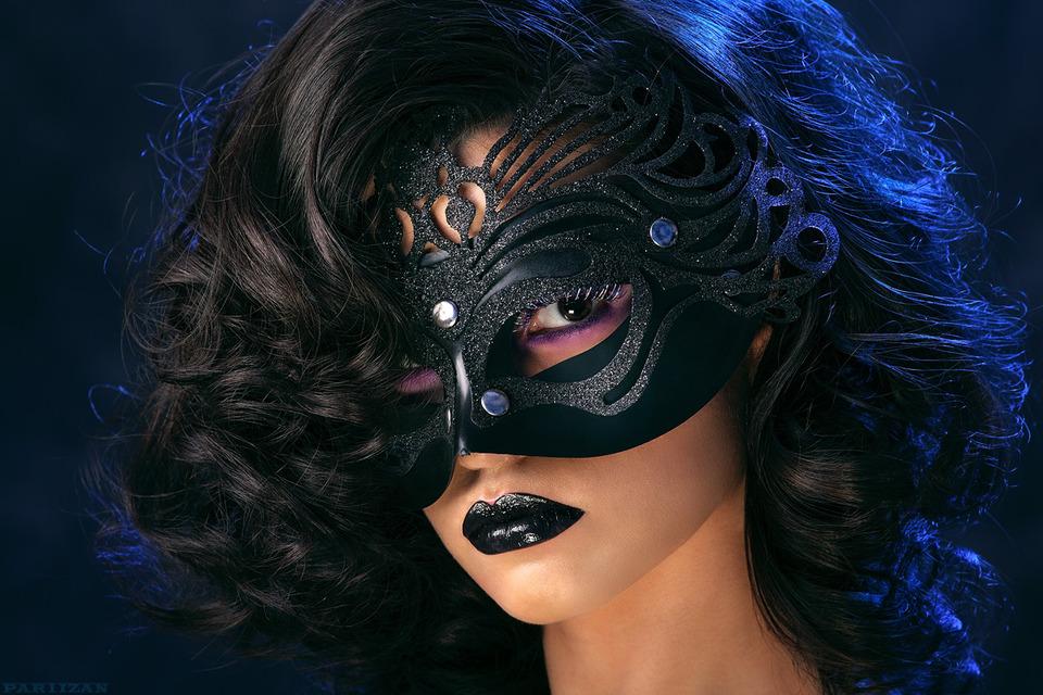 Masked beautiful girl  | masked, girl, pretty, black lipstick