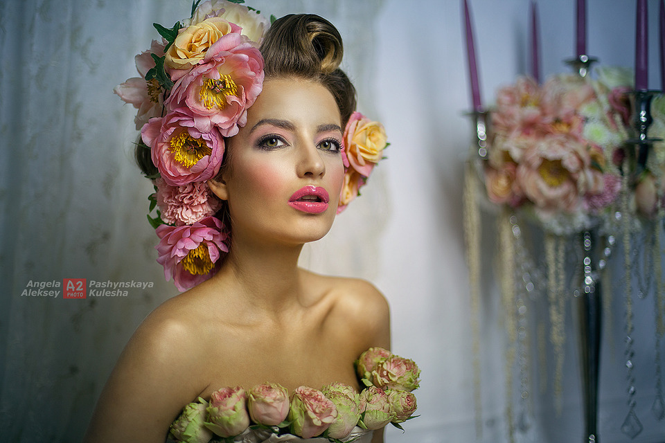 Wearing flowers | flowers, candles, red lipstick, fat lips