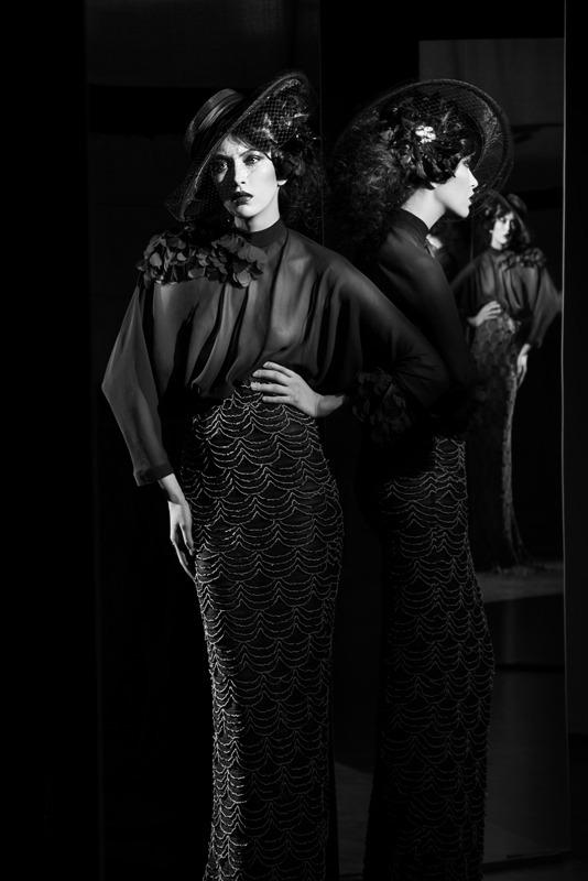 Oldschool   black dress, reflection, morror, hair-do