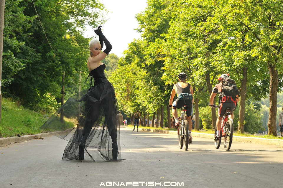 Fetishist lost in the world | fetishist, bicycle, pedestrian, road, see through skirt