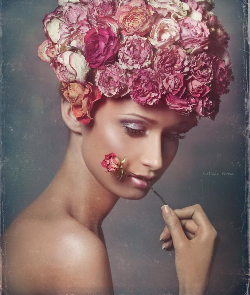Hair-do of real flowers | flowers, hair-do, tan, pink lips