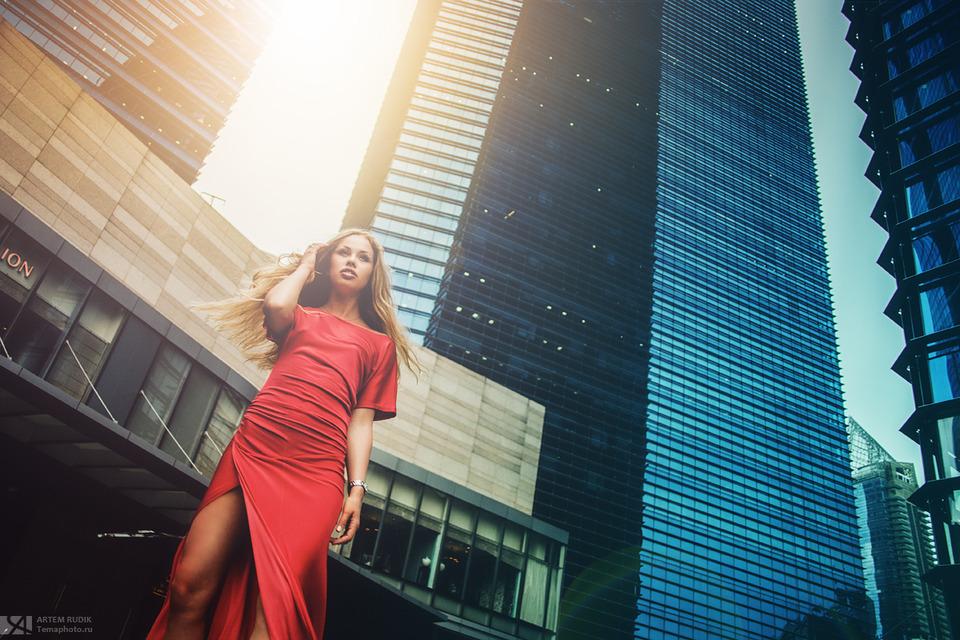 Under the skyscraper | skyscraper, red dress, cutie, sidewalk
