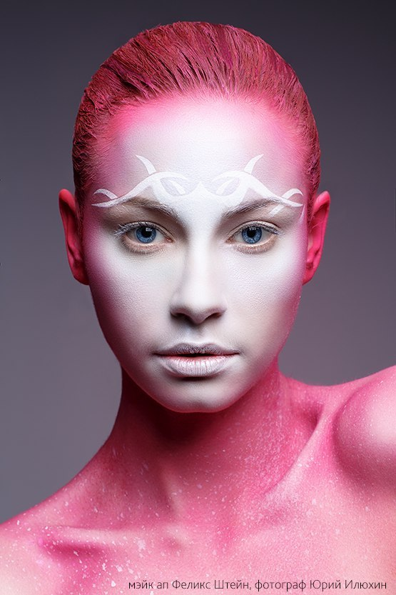 Pink girl | pink, white skin, blue eyes