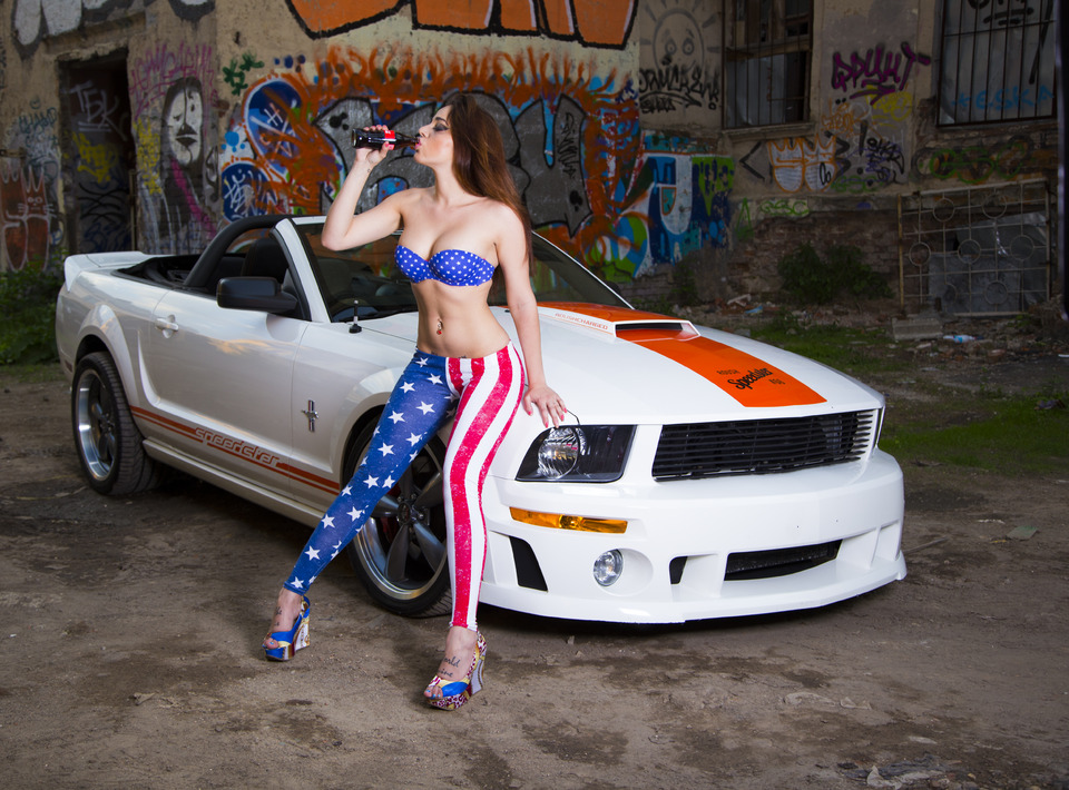 Ford Mustang | ford, mustang, flag of the US, graffiti