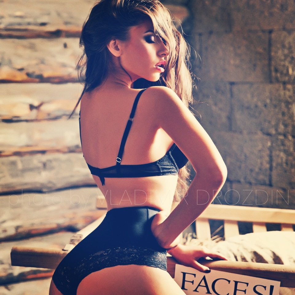 Girl wearing black underwear | black underwear, wooden house, brickwall, passion