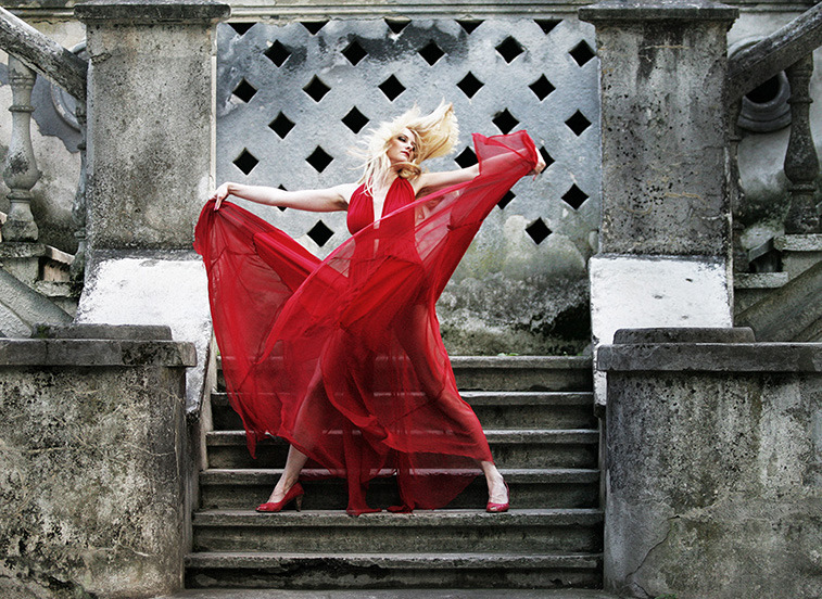 Dancing on the stairs | stairs, dancer, red dress, nature