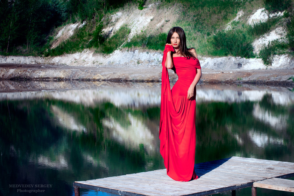 Girl in red gown standing by the lake   lake, reflection, red gown, model