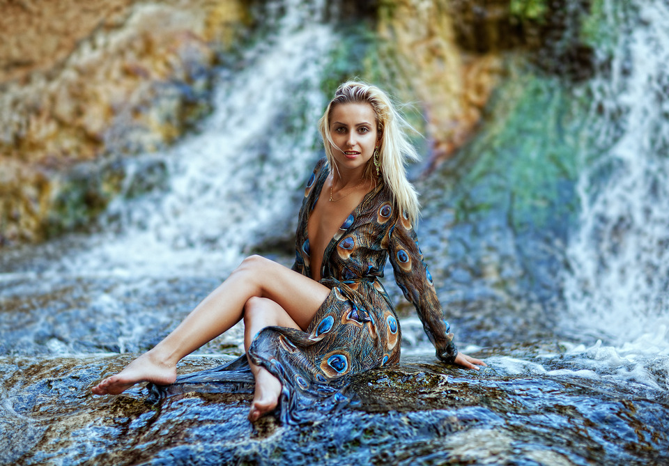 Girl the waterfall | waterfall, pretty girl, wnviromental portrait, wild
