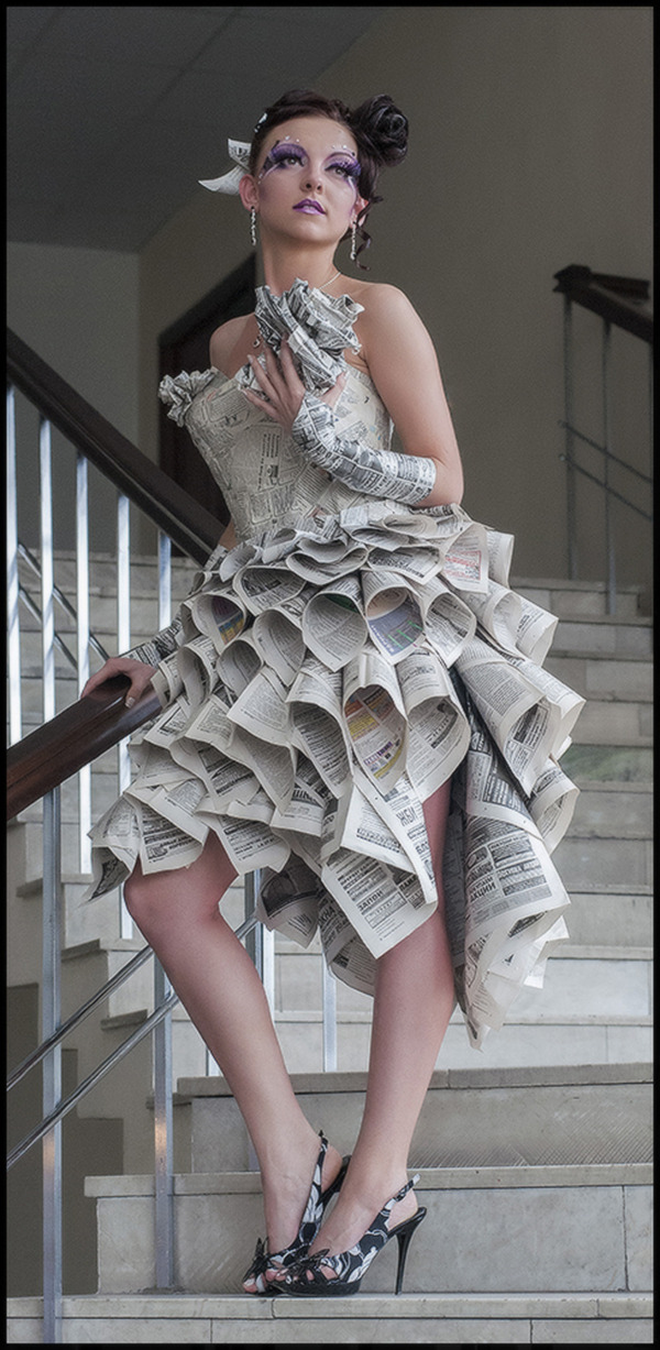 Paper dress | photo shoot, stairs, paper dress, house