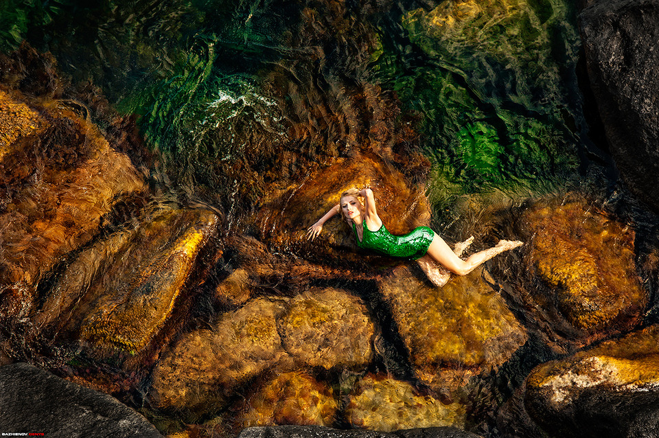 Mermaid style | mermaid, style, environmental portrait, stone