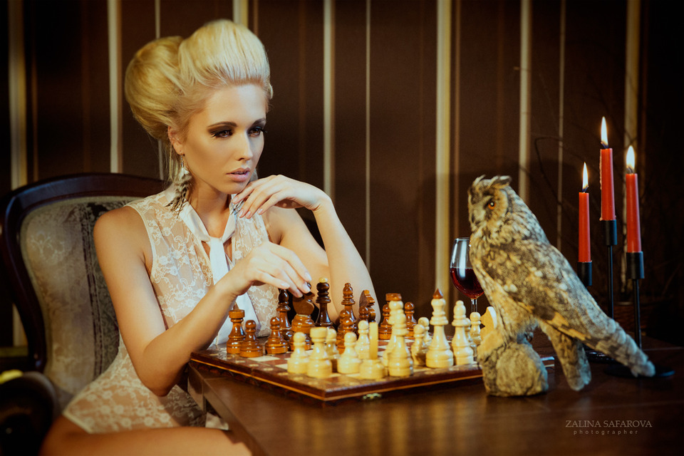 Who is gonna win? | chess, blond, owl, candles