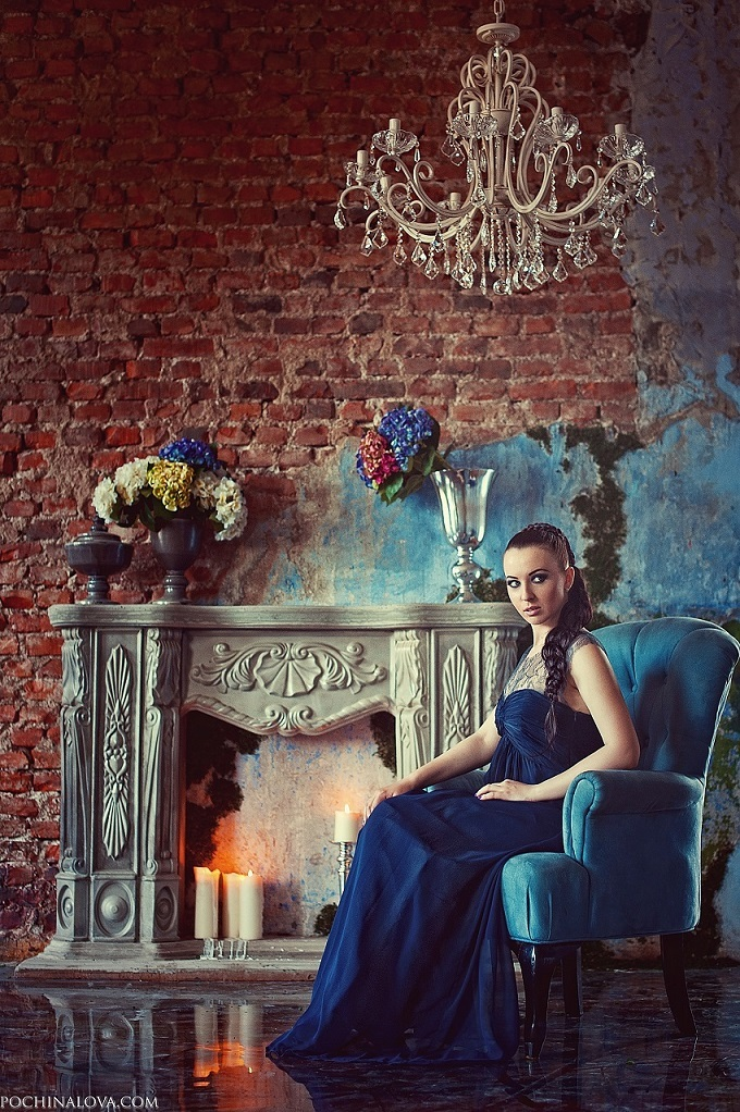 Sitting by the fireplace | fireplace, blue gown, brickwall, chair