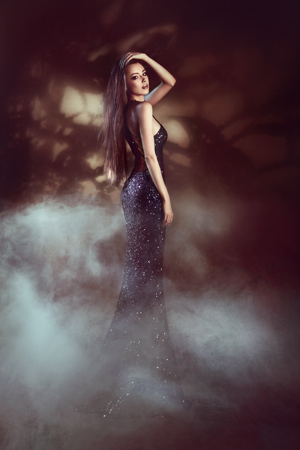 Slim girl in long shining dress and fog | glamour, model, girl, long hair, make-up, long dress, fog, shades, slim, shining