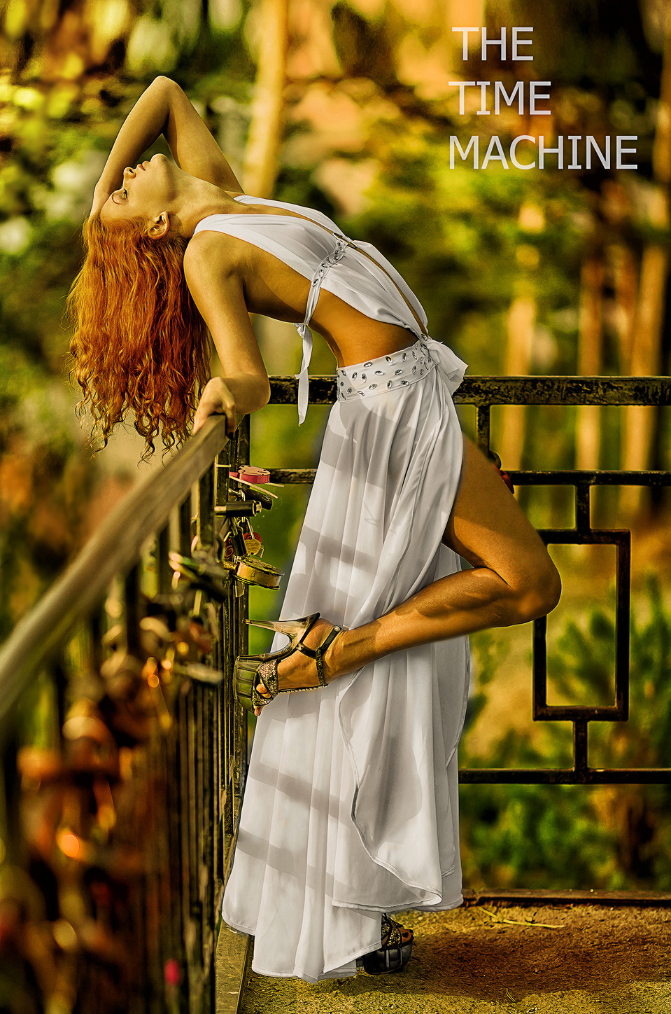 Beautiful Helen Red  | model, hair, red, dress, bridge, padlock, heels, beautiful, white, throw back head