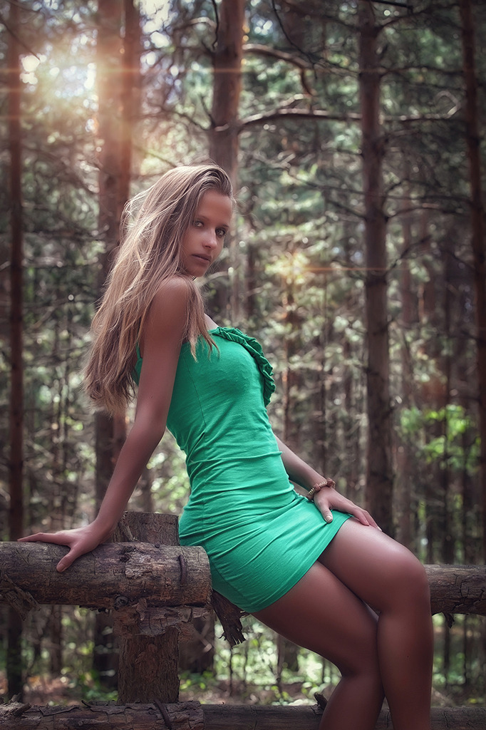 Nice girl sitting on a branch | girl, cutie, forest, short skirt