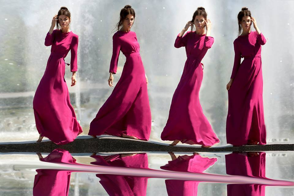 Model near a fountain in different attitudes | glamour, model, girl, fountain, long dress, water, barefoot, brunette, lock, masking technique