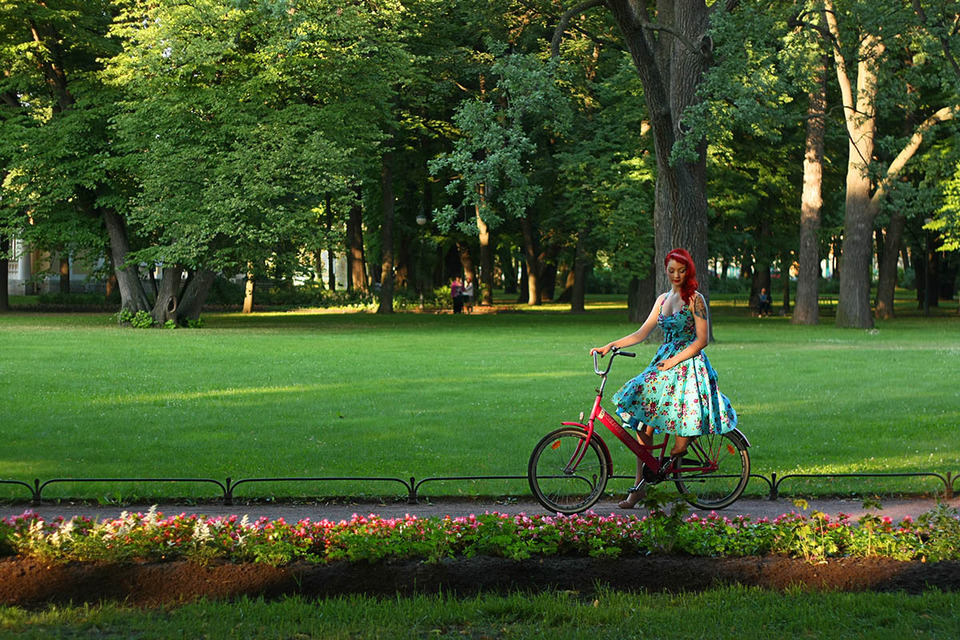 Bike girl | glamour, model, girl, park, trees, green grass, flowers, sunny day, red bike, dress
