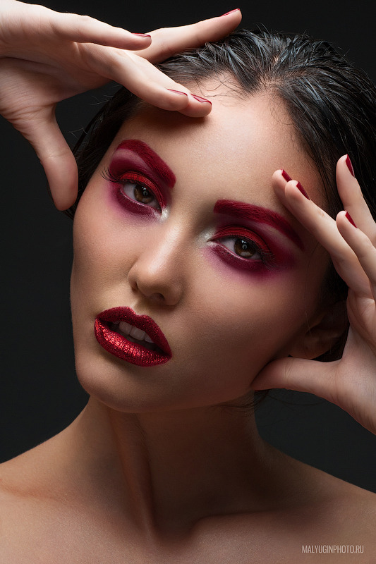 Girl with red make-up | glamour, model, girl, face, make-up, brunette, red lipstick, portrait, red nails, perfect skin