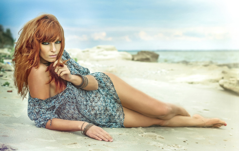 Beautiful girl on the beach | glamour, model, girl, red-haired, make-up, beautiful, dress, beach, bracelets, sky