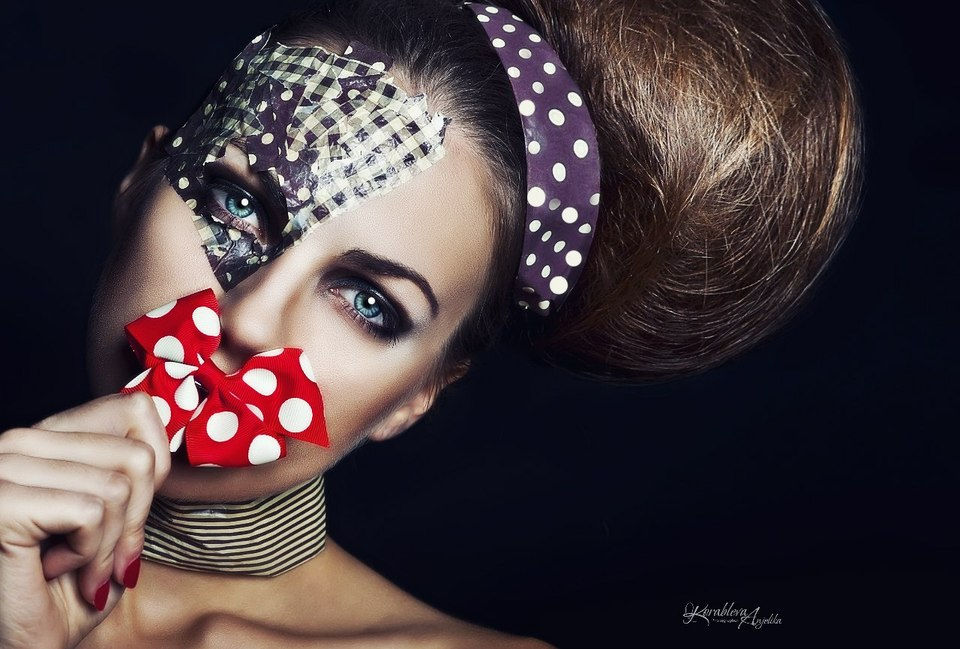Red bow on the lips | girl, make-up, spotted, red, bow, eyes, hairband, dark blue, lips, hairdo