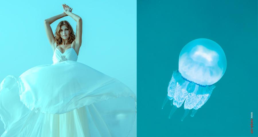 Bride looks like medusa | glamour, model, girl, bride, wedding dress, medusa, puffy, blue, curly, likeness