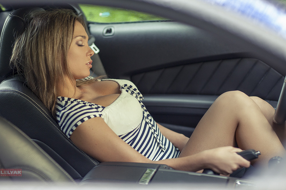 Girl in a car | glamour, model, cute girl, car, bliss, light brown hair, stripped dress, handbrake, passenger compartment, sexy