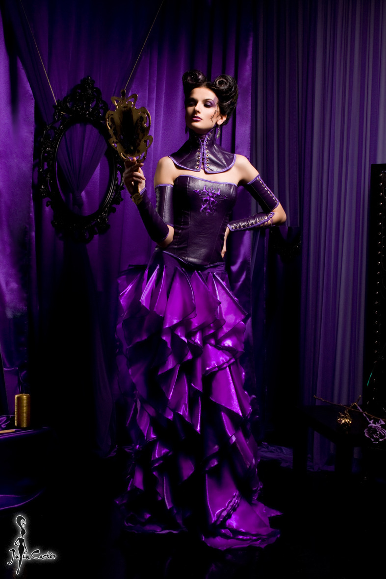 Arrogance | glamour, model, girl, arrogance, deadly sin, mirror, violet, long dress, hair-do, make-up
