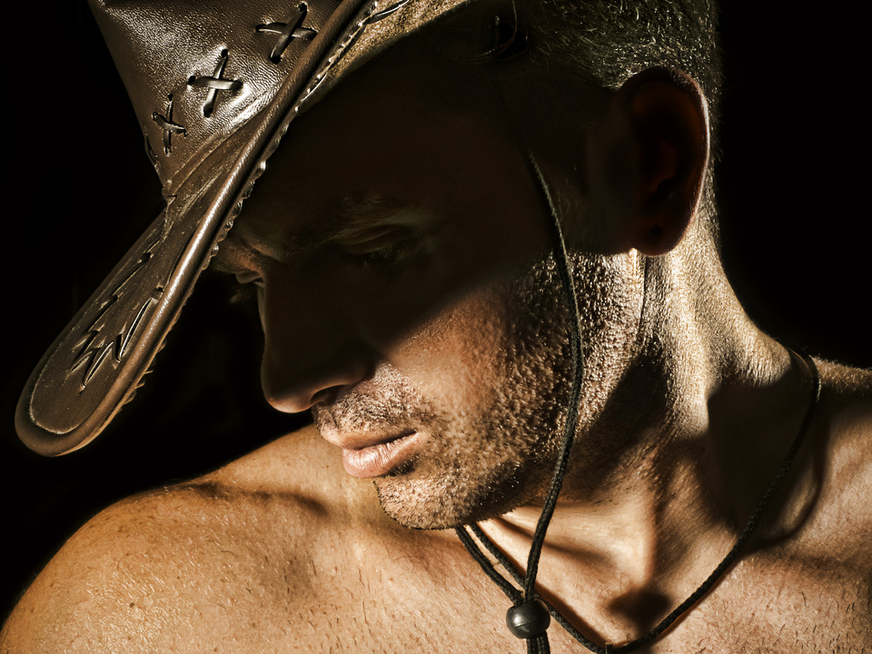Man in the cowboy hat | glamour, model, man, bristle, dark-haired, face, naked, hat, cowboy, sexual
