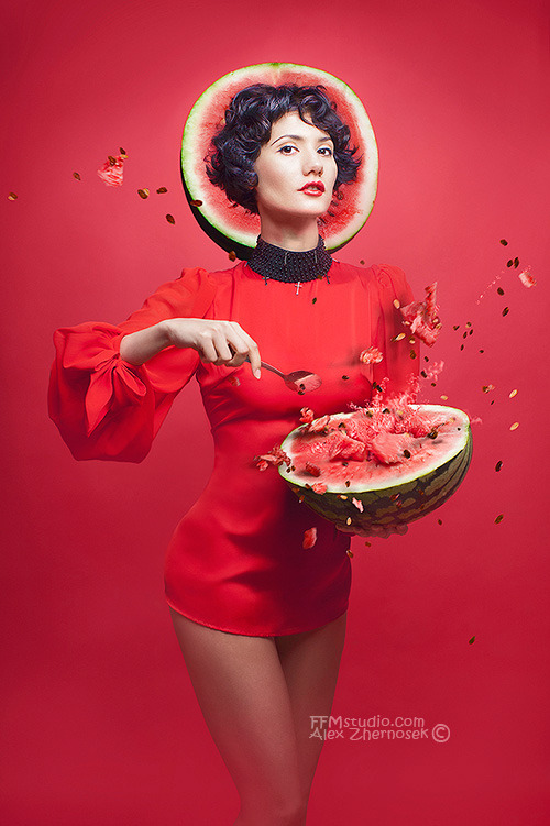 Woman in red dress and watermelon | glamour, model, woman, raw food, red dress, short hair, brunette, watermelon, spoon, health