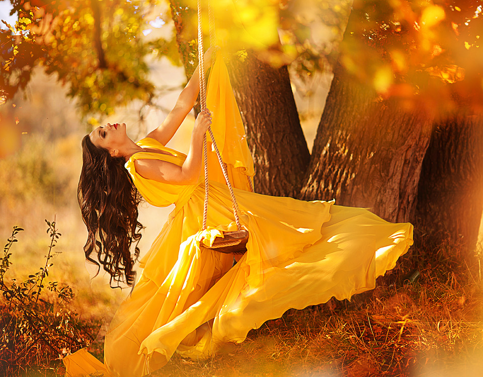 Woman in yellow dress on the swings | woman, autumn, swing, yellow, dress, tree, leaves, long, hair, make-up