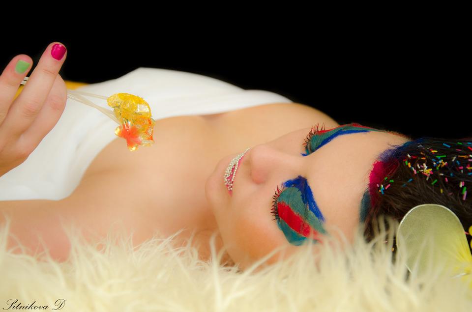 Girl with sweet lollipop | model, girl, make-up, glam, colourful, lollipop, sweet, brunette , nails, lie