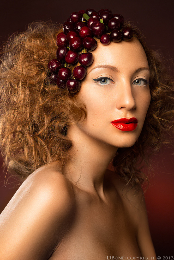 Girl with cherry | glamour, model, girl, make-up, naked, hair-do, red lipstick, cherry, curls, face