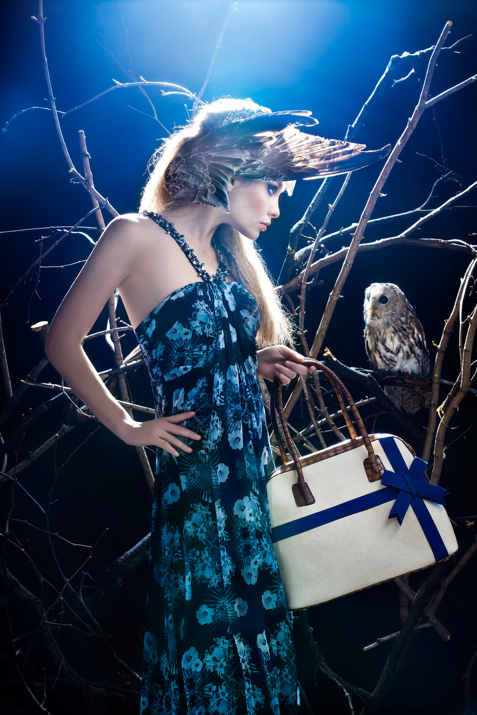 Woman and owl | glam, woman, model, slim, long dress, handbag, owl, light, branches, wings