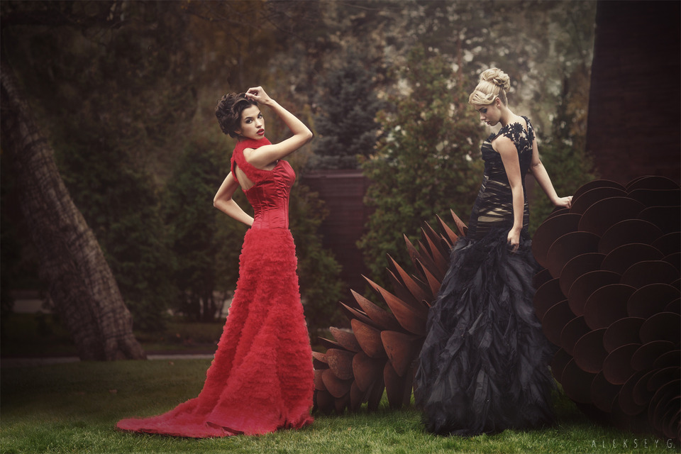 Gilr in black and girl in red | red dress, long black dress, park, town, meadol, lawn