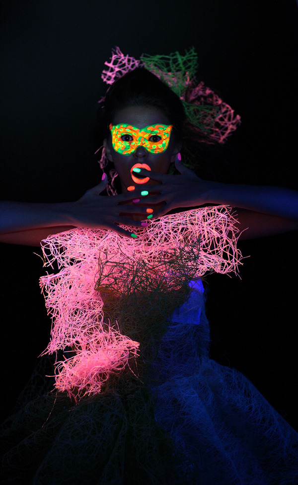 Neon girl | neon, party girl, mask, nightclub