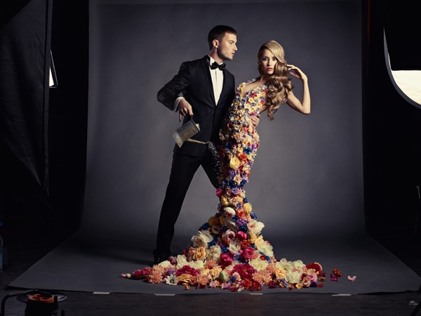 Man and girl in the flower dress | glamour, models, girl, blonde, curly, man, suit, flower dress, water, watering-pot