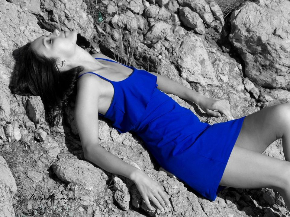 Blue dress | glamour, model, girl, brunette, stones, blue dress, black&white, slim, photoshoot, long dress