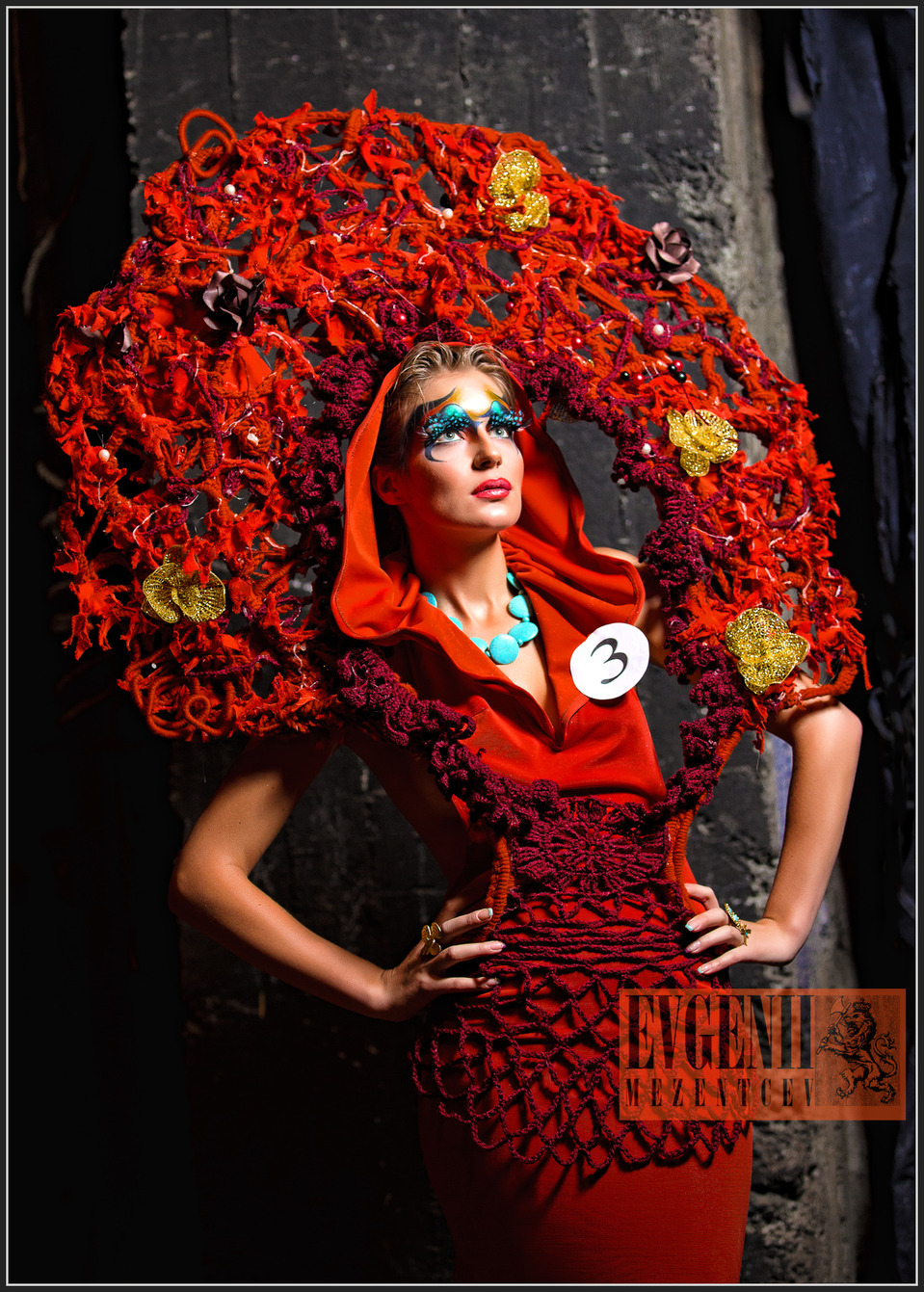 Model in red kokoshnik, Fashion Week Kyrgyzstan  | Fashion Week, kokoshnik, red, dress, fantasy, make-up, blue, number, backstage, contest