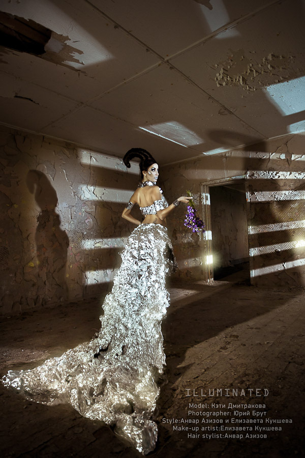Model in an illuminated dress in an tumbledown room | model, shade, illuminated, tumbledown, flowers, wall, ceiling, flaked, hair-do, dress