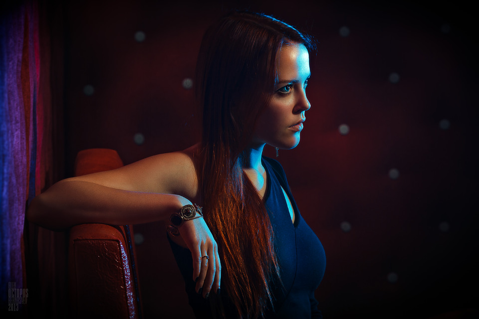 Girl in dark room   girl, room, darkness, armchair