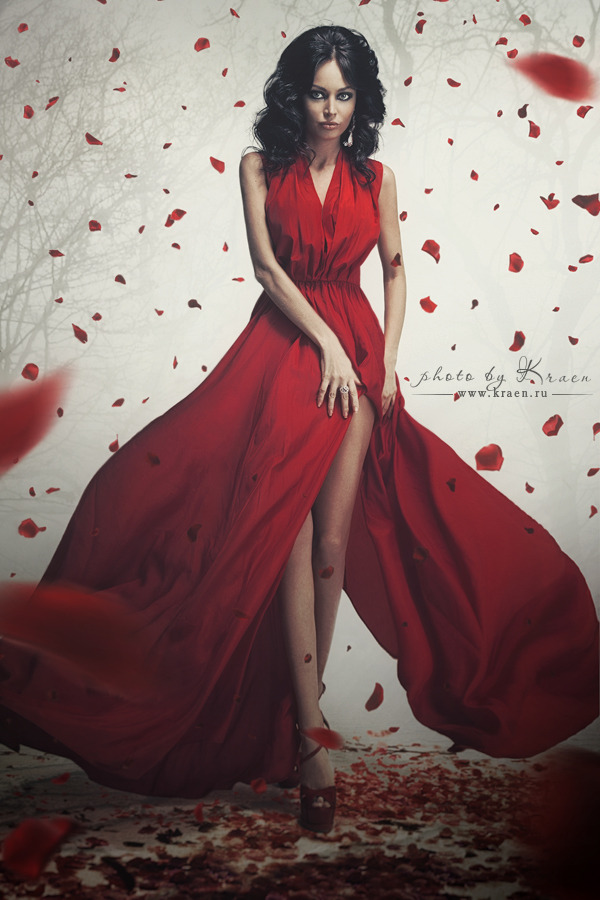 Beautiful red dress | red dress, beautiful girl, rose petals