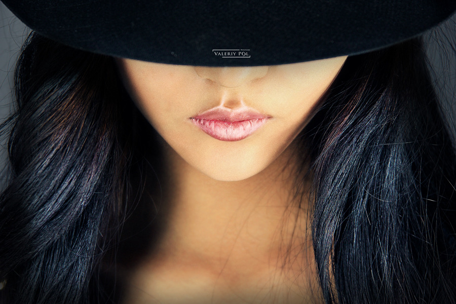 Perfect lips of a girl | glamour, model, girl, hat, long hair, brunette, perfect skin, lips, lipstick, sexual